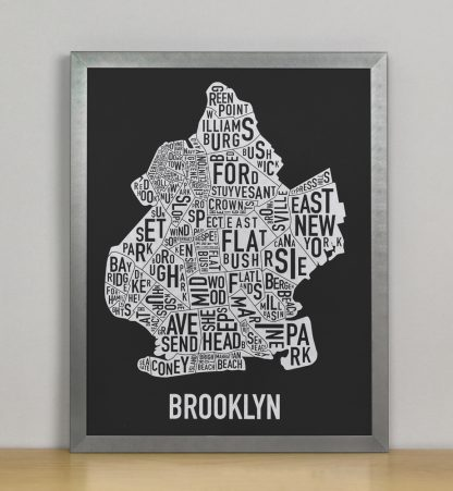 "Framed Brooklyn Neighborhood Map Screenprint, Black & White, 11"" x 14"" in Steel Grey Frame"