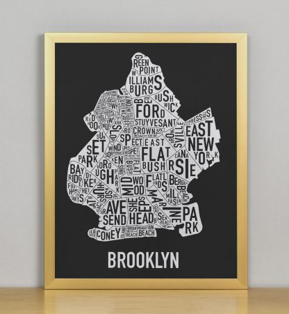 "Framed Brooklyn Neighborhood Map Screenprint, Black & White, 11"" x 14"" in Bronze Frame"