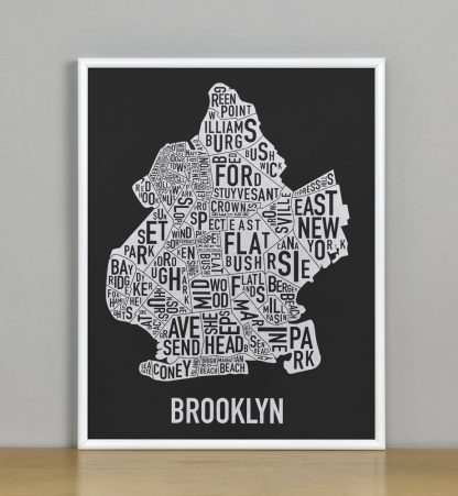 "Framed Brooklyn Neighborhood Map Screenprint, Black & White, 11"" x 14"" in White Metal Frame"