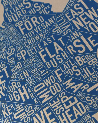 "Brooklyn Neighborhood Map, Gold & Blue Screenprint, 11"" x 14"""