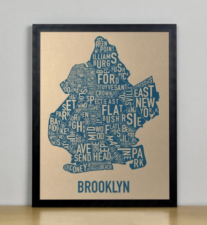 "Framed Brooklyn Neighborhood Map, Gold & Blue Screenprint, 11"" x 14"" in Black Frame"