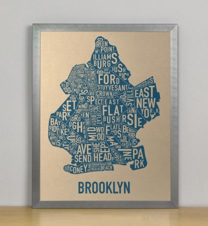 "Framed Brooklyn Neighborhood Map, Gold & Blue Screenprint, 11"" x 14"" in Steel Grey Frame"