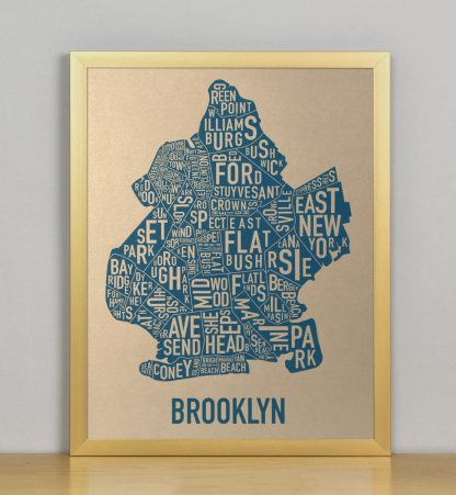 "Framed Brooklyn Neighborhood Map, Gold & Blue Screenprint, 11"" x 14"" in Bronze Frame"