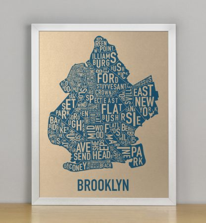 "Framed Brooklyn Neighborhood Map, Gold & Blue Screenprint, 11"" x 14"" in Silver Frame"