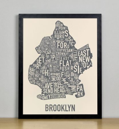 "Framed Brooklyn Neighborhood Map Screenprint, Ivory & Grey, 11"" x 14"" in Black Frame"