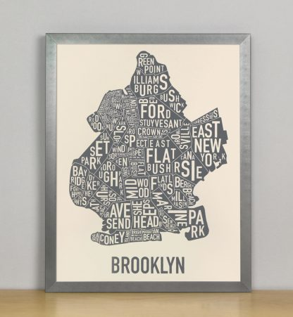 "Framed Brooklyn Neighborhood Map Screenprint, Ivory & Grey, 11"" x 14"" in Steel Grey Frame"