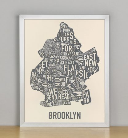 "Framed Brooklyn Neighborhood Map Screenprint, Ivory & Grey, 11"" x 14"" in Silver Frame"