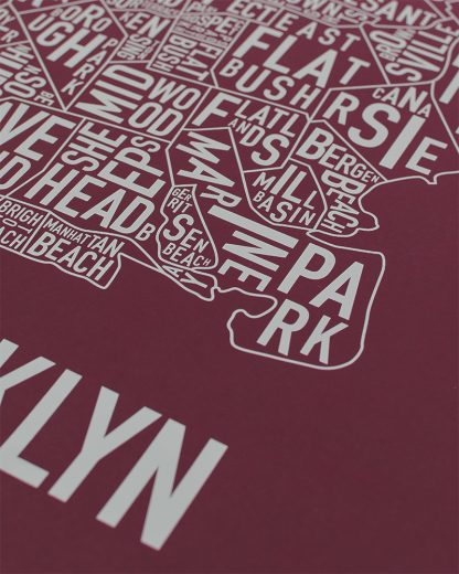 "Brooklyn New York Neighborhood Screenprint Poster, Maroon & Grey, 18"" x 24"""