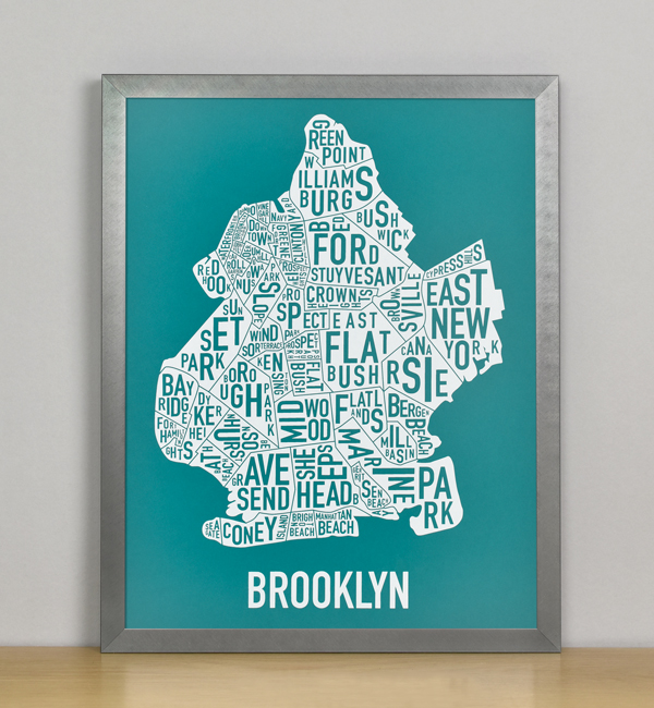 "Framed Boston Typographic Neighborhood Map Screenprint, Teal & White, 11"" x 14"" in Grey Frame"