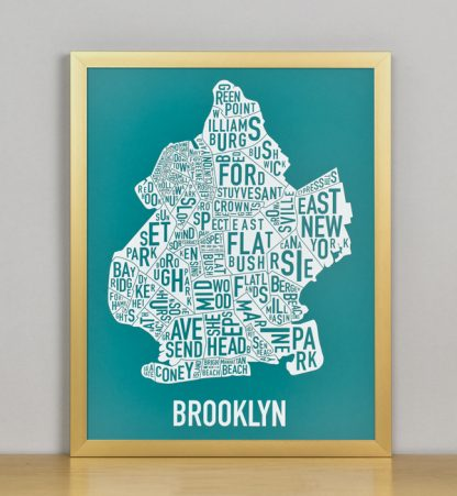 "Framed Boston Typographic Neighborhood Map Screenprint, Teal & White, 11"" x 14"" in Bronze Frame"