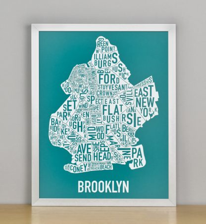 "Framed Boston Typographic Neighborhood Map Screenprint, Teal & White, 11"" x 14"" in Silver Frame"