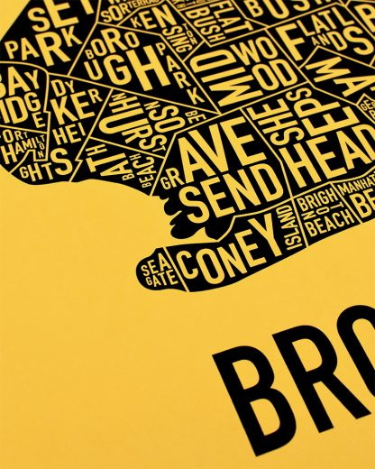 "Brooklyn New York Neighborhood Screenprint, Yellow & Black, 18"" x 24"""