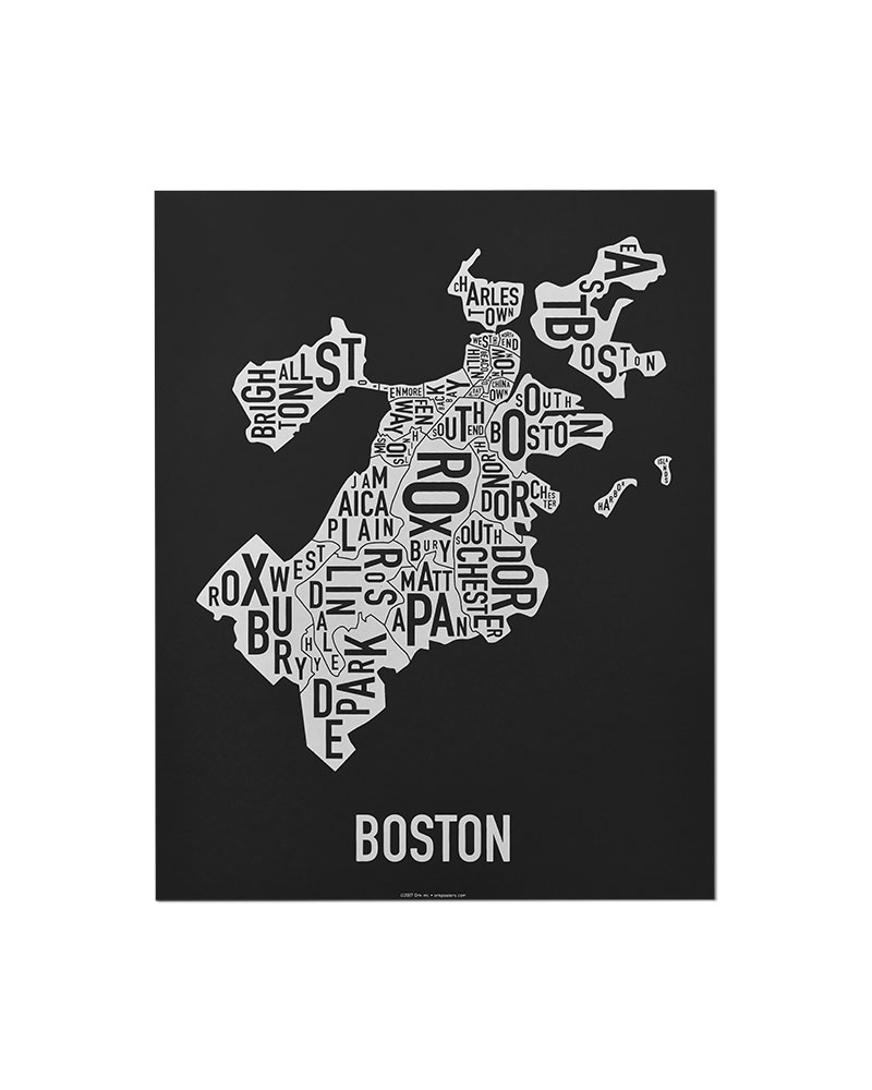 Boston neighborhoods map posters prints unique modern wall decor