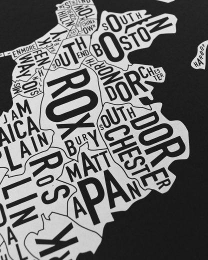 "Boston Neighborhood Map, Black & White Screenprint, 11"" x 14"""