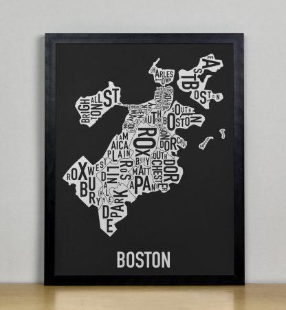 """Framed Boston Neighborhood Map, Black & White Screenprint, 11"""" x 14"""" in Black Frame"""