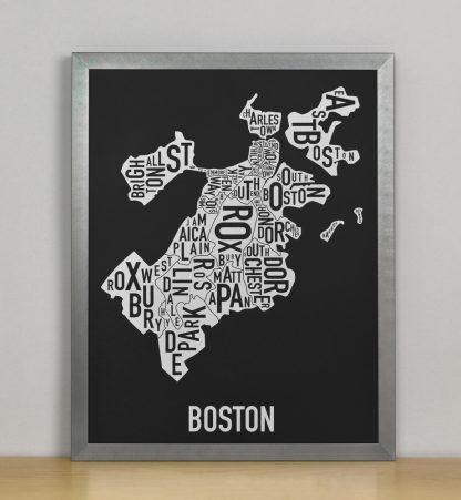 "Framed Boston Neighborhood Map, Black & White Screenprint, 11"" x 14"" in Steel Grey Frame"