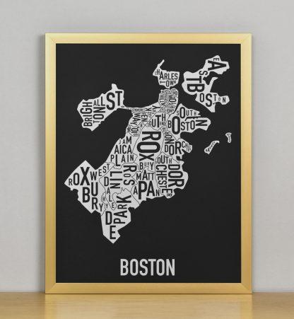 """Framed Boston Neighborhood Map, Black & White Screenprint, 11"""" x 14"""" in Bronze Frame"""