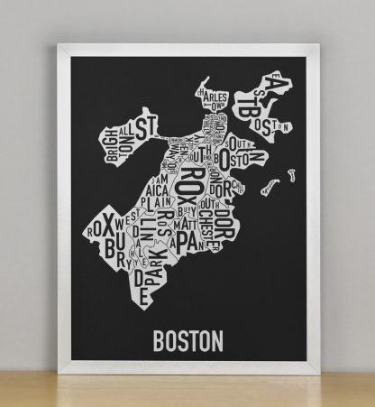 """Framed Boston Neighborhood Map, Black & White Screenprint, 11"""" x 14"""" in Silver Frame"""
