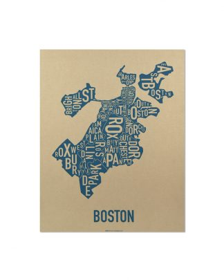 "Boston Neighborhood Map, Gold & Blue Screenprint, 11"" x 14"""