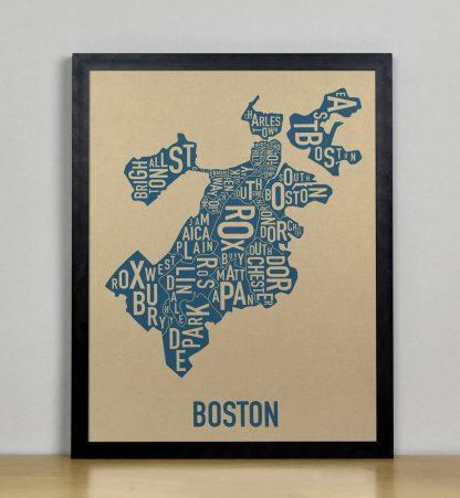 """Framed Boston Neighborhood Map, Gold & Blue Screenprint, 11"""" x 14"""" in Black Frame"""