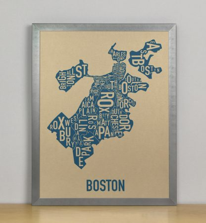 "Framed Boston Neighborhood Map, Gold & Blue Screenprint, 11"" x 14"" in Steel Grey Frame"
