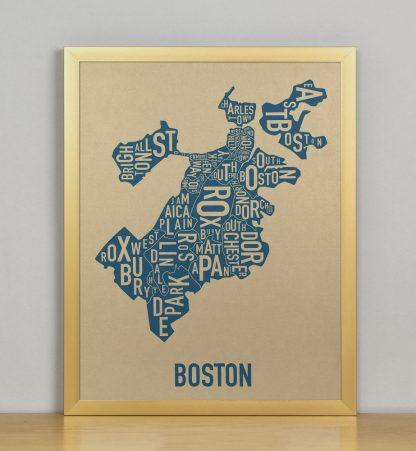 "Framed Boston Neighborhood Map, Gold & Blue Screenprint, 11"" x 14"" in Bronze Frame"