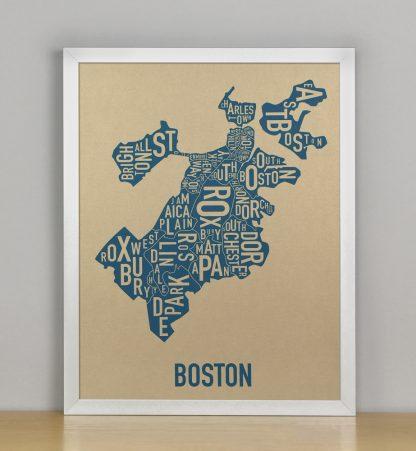 "Framed Boston Neighborhood Map, Gold & Blue Screenprint, 11"" x 14"" in Silver Frame"