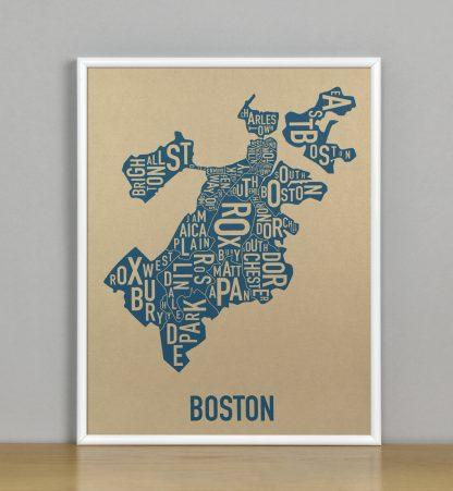 """Framed Boston Neighborhood Map, Gold & Blue Screenprint, 11"""" x 14"""" in White Metal Frame"""