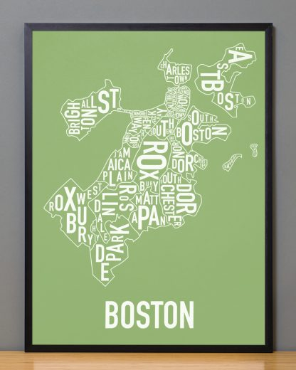 "Frame Boston Neighborhood Map, Green & White, 18"" x 24"" in Black Frame"