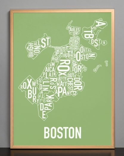 "Frame Boston Neighborhood Map, Green & White, 18"" x 24"" in Bronze Frame"