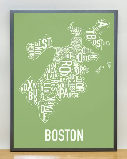 "Frame Boston Neighborhood Map, Green & White, 18"" x 24"" in Steel Grey Frame"