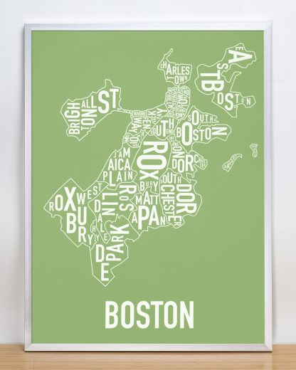 "Frame Boston Neighborhood Map, Green & White, 18"" x 24"" in Silver Frame"