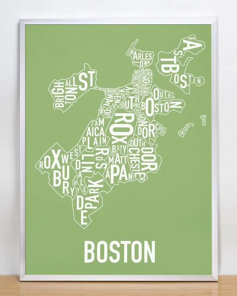 Boston Neighborhood Map X Irish Green Screenprint - Boston neighborhood map