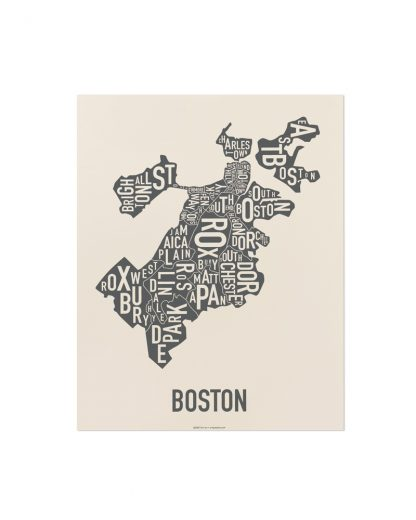 "Boston Neighborhood Map Screenprint, Ivory & Grey, 11"" x 14"""