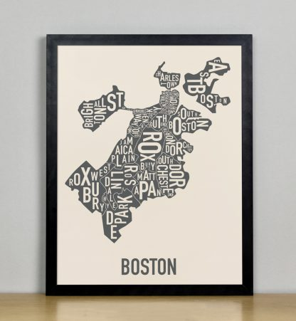 "Framed Boston Neighborhood Map Screenprint, Ivory & Grey, 11"" x 14"" in Black Frame"