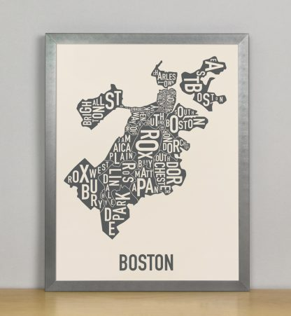 "Framed Boston Neighborhood Map Screenprint, Ivory & Grey, 11"" x 14"" in Steel Grey Frame"