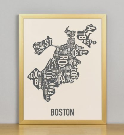 "Framed Boston Neighborhood Map Screenprint, Ivory & Grey, 11"" x 14"" in Bronze Frame"