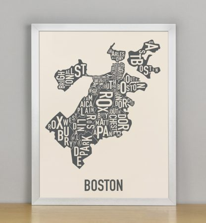 "Framed Boston Neighborhood Map Screenprint, Ivory & Grey, 11"" x 14"" in Silver Frame"