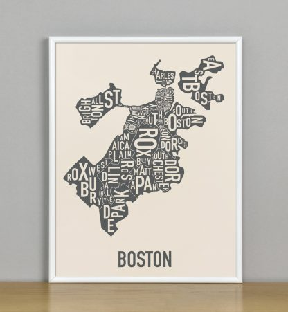 "Framed Boston Neighborhood Map Screenprint, Ivory & Grey, 11"" x 14"" in White Metal Frame"