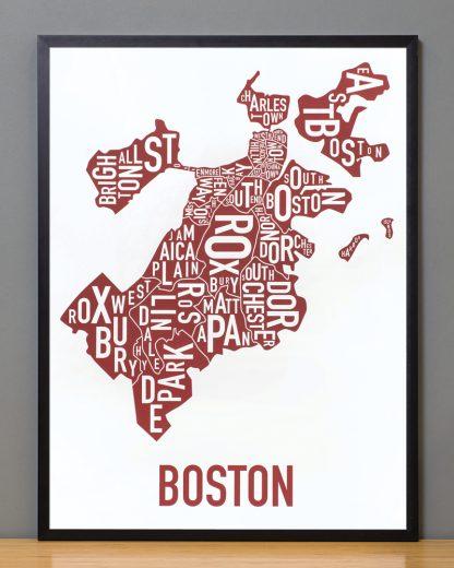 """Framed Boston Neighborhoods Map, White & Red, 18"""" x 24"""" in Black Frame"""