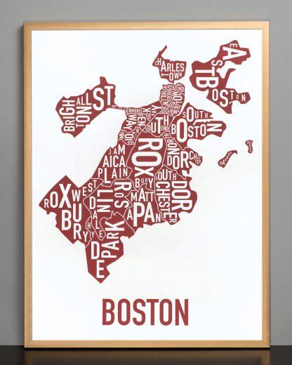 """Framed Boston Neighborhoods Map, White & Red, 18"""" x 24"""" in Bronze Frame"""