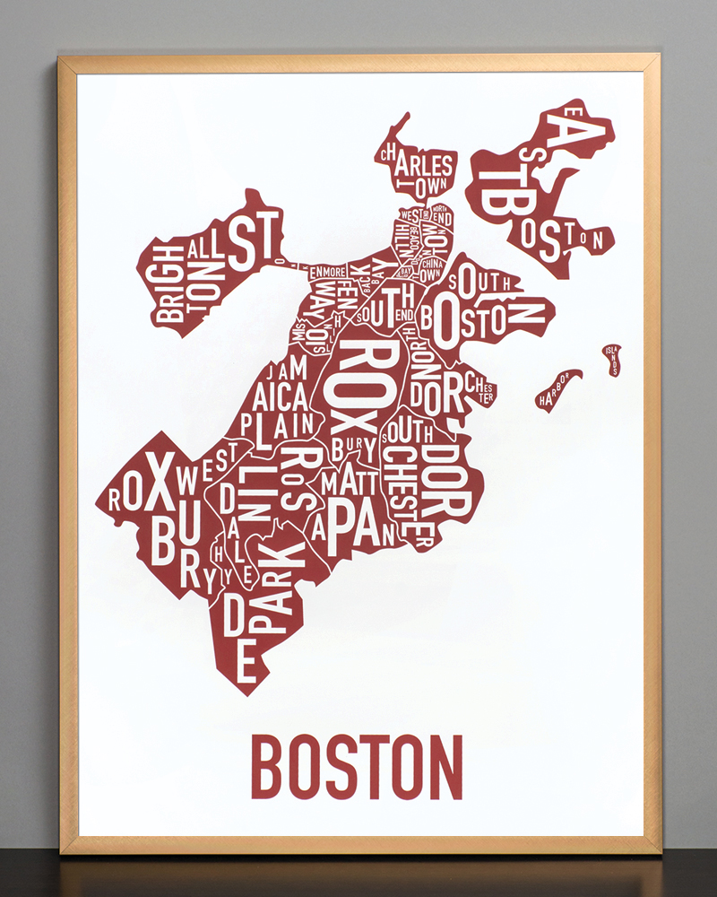 Boston Neighborhood Map X Red Who Screenprint - Boston neighborhood map