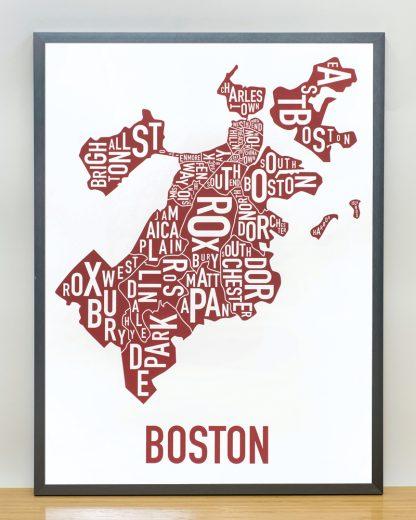 """Framed Boston Neighborhoods Map, White & Red, 18"""" x 24"""" in Steel Grey Frame"""
