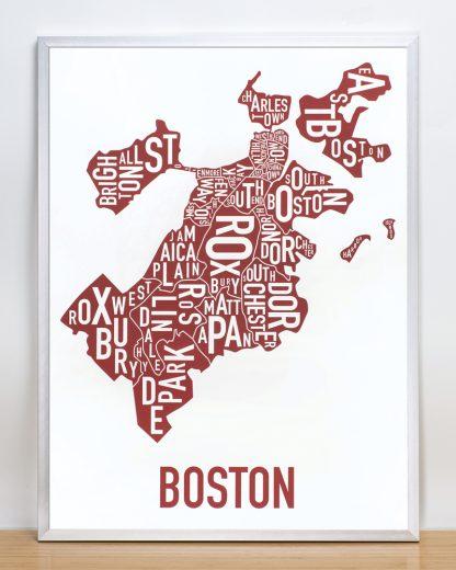 """Framed Boston Neighborhoods Map, White & Red, 18"""" x 24"""" in Silver Frame"""
