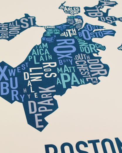 "Boston Neighborhood Map Screenprint, Multi, 18"" x 24"""