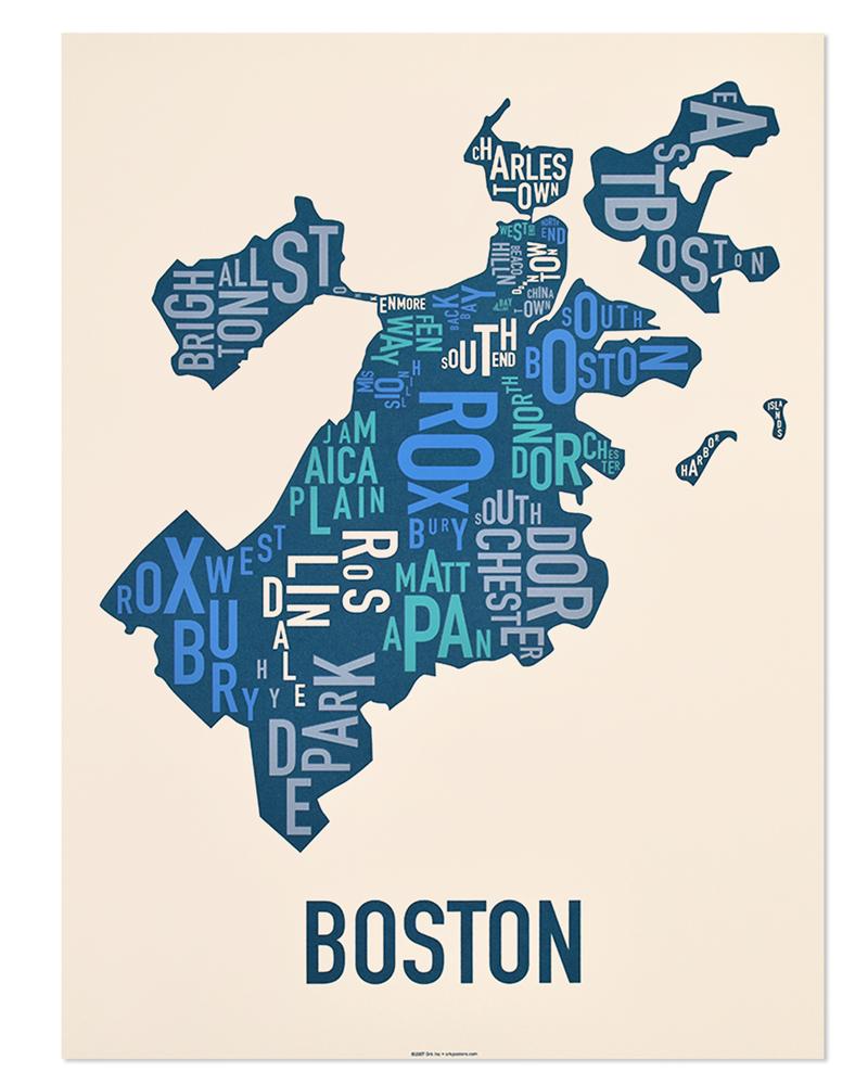 Boston Neighborhood Map X Multicolor Screenprint - Boston neighborhood map