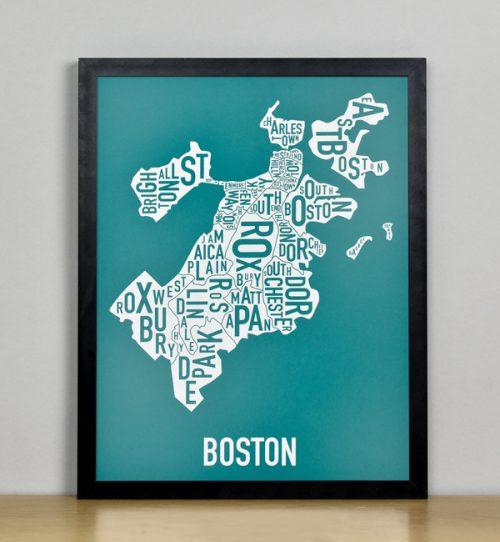 """Framed Boston Typographic Neighborhood Map Screenprint, Teal & White, 11"""" x 14"""" in Black Frame"""