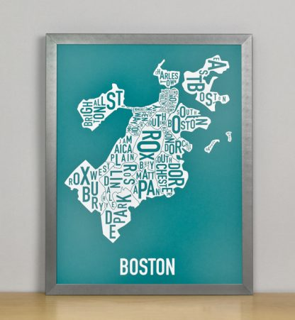"Framed Boston Typographic Neighborhood Map Screenprint, Teal & White, 11"" x 14"" in Steel Grey Frame"