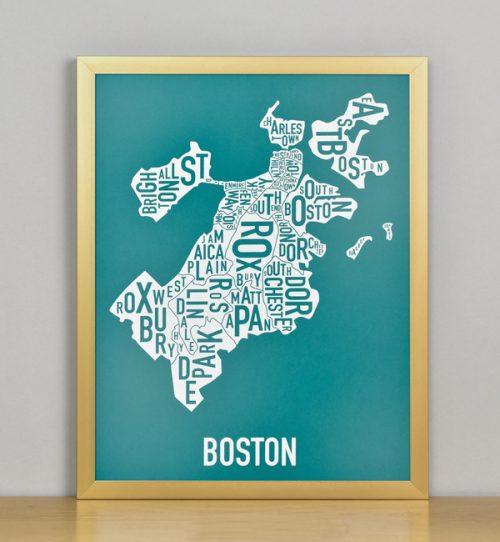 "Framed Boston Typographic Neighborhood Map Screenprint, Teal & White, 11"" x 14"" in Bronze Frame"