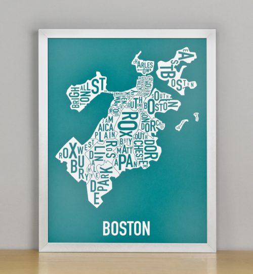 "Framed Boston Typographic Neighborhood Map Screenprint, Teal & White, 11"" x 14"" in Silver Frame"